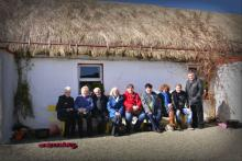 Members of the group enjoying the sun in the Famine Village. Photo by Ephy McConnell